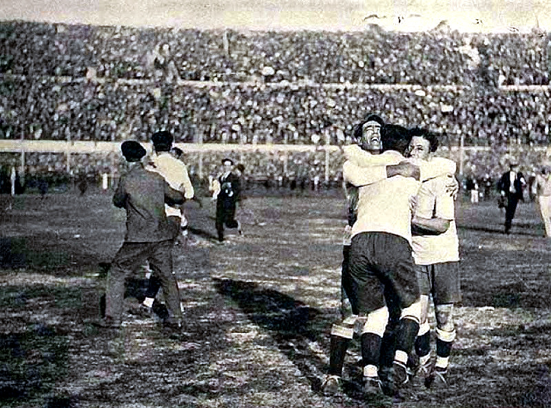 Uruguay_s Lorenzo Fernadez, Pedro Cea and Hector Scarone after the final whistle, July 30, 1930, World Cup, Uruguay 4-Argentina 2 Primer campeonato mundial de football 1930 (102) - Co